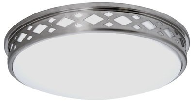 Lattice Series - Diamond shaped lattice round LED surface mount light - Satin Nickel Finish - 3 sizes available