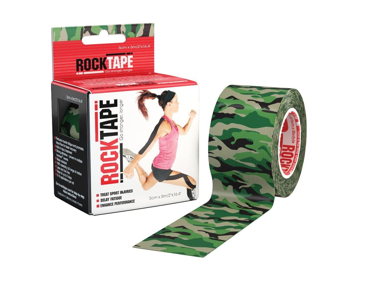Кинезио тейп RockTape - зеленый камуфляж 5м х 5см