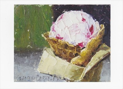 'Raspberry Goat Cheese Ice Cream' Notecard
