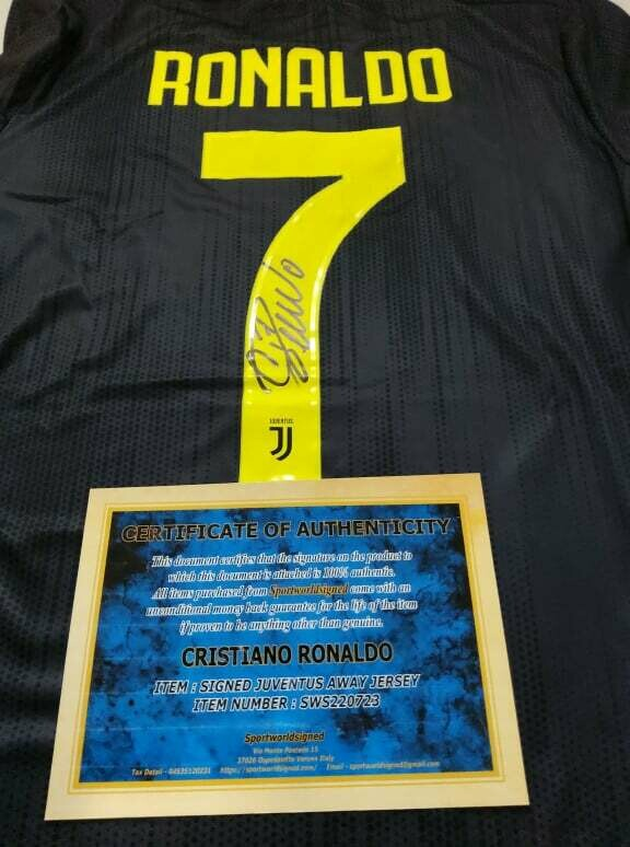 Maglia Replica Juventus Maglia Trasferta 2018 2019 Autografata CR7 CRISTIANO RONALDO Signed wich COA certificate Juventus CRISTIANO RONALDO CR7 Signed 2018 2019
