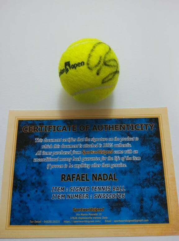 Pallina Tennis RAFAEL NADAL  Autografata  Signed NADAL RAFAEL with COA certificate of authenticity