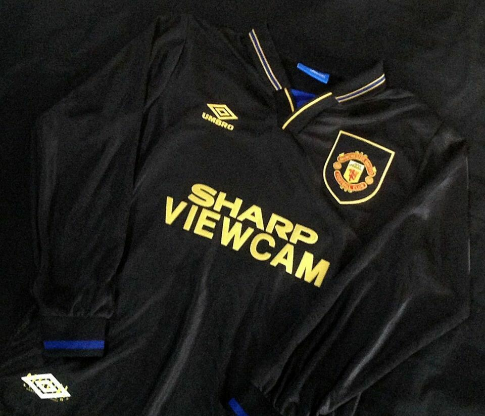 MANCHESTER UNITED MAN UTD JERSEY AWAY MAGLIA TRASFERTA 1993 1995 MANICHE LUNGHE LONG SLEEVES KUNG FU