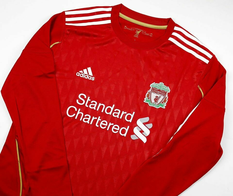 LIVERPOOL HOME 2010-2012 LONG SLEEVED MAGLIA CASA 10 12 MANICHE LUNGHE