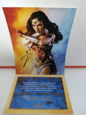 FOTO Wonder Woman Gal Gadot Autografata Signed + COA Photo Wonder Woman Gal Gadot Autografato Signed