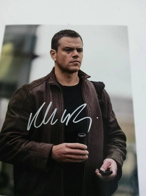 FOTO Matt Damon Jason Bourne Leather Jacket  Signed + COA Photo Matt Damon Jason Bourne Leather Jacket  Autografato Signed