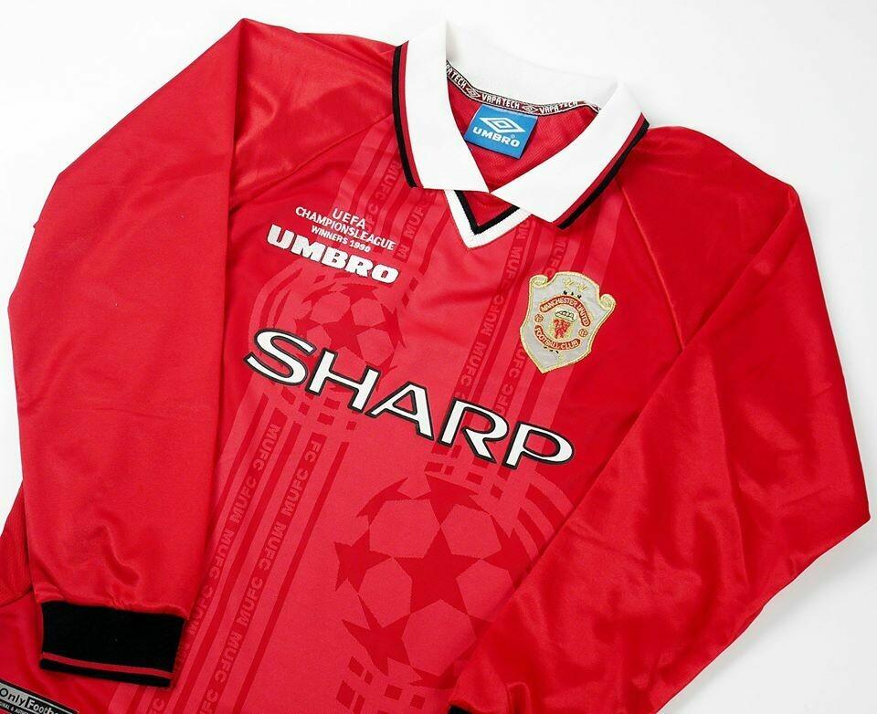MAN UTD HOME 2 STARS UCL 1999-2000 LONG SLEEVED MAN UTD MAGLIA CASA FINALE CHAMPIONS 1999