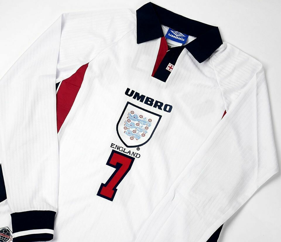 ENGLAND HOME WC 1998 LONG SLEEVED MAGLIA MONDIALI 1998 MAN LUNGHE WORLD CUP 98 INGHILTERRA