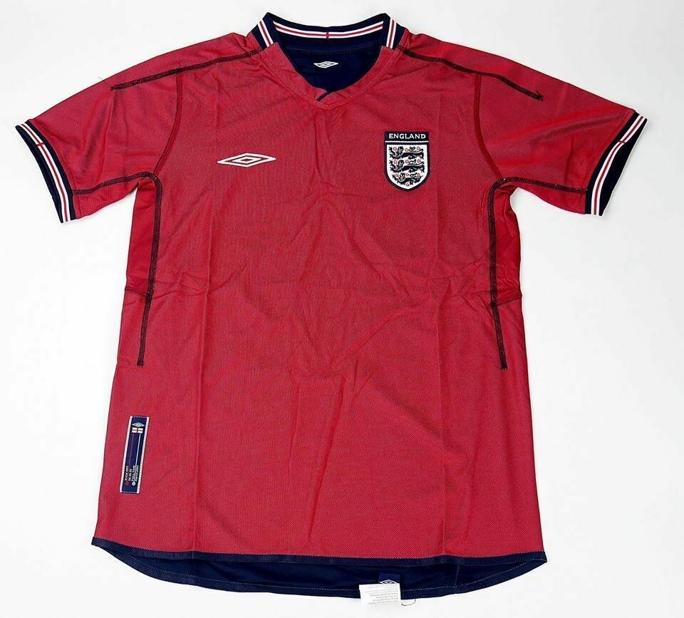 ENGLAND AWAY WC 2002 (REVERSE SIDE) INGHILTERRA MONDIALI 2002 DOPPIA MAGLIA DAVANTI DIETRO 2002 WORLD CUP