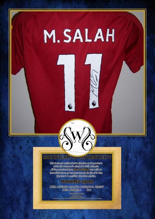 Maglia LIVERPOOL Maglia Casa 2019 2020  M SALAH 11 Autografata Signed wich COA certificate LIVERPOOL Jersey Home 2019 2020 Momo Salah Signed with coa