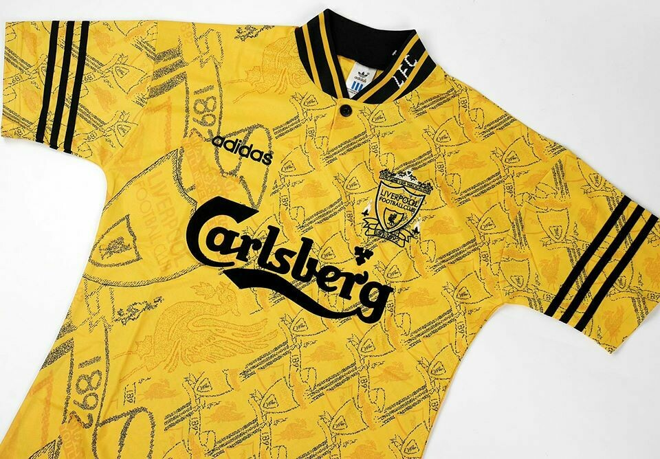 LIVERPOOL AWAY 3RD YELLOW 1994-1996 MAGLIA TRASFERTA LIVERPOOL 94 96