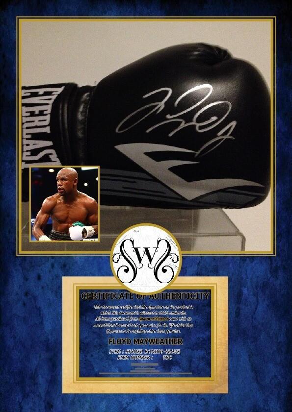Guanto Floyd Mayweather Jr. Autografato Signed Autografato Signed Glove Floyd Mayweather Jr. Glove Display COA certificate Signed Glove Signed