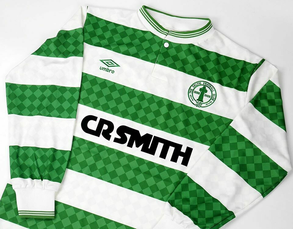CELTIC HOME 1987-1988 CENTENARY MAGLIA CASA CENTENARIO 87 88 MANICHE LUNGHE LONG SLEEVES