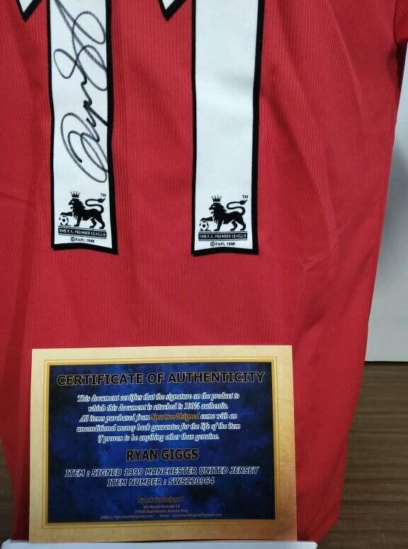 Maglia Manchester Untied Maglia Casa Trouble 1999 2000  Autografata  RYAN GIGGS 11 Signed with COA certificate MAN UTD MANCHESTER UNITED GIGGS 11 Signed TROUBLE