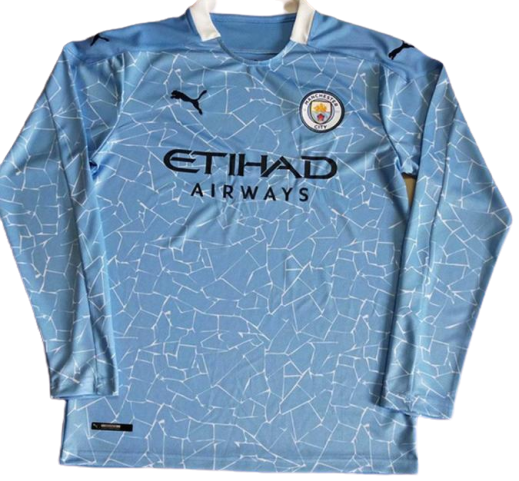 MANCHESTER CITY  JERSEY HOME 2020 2021  MAGLIA CASA MANICHE LUNGHE LONG SLEEVES
