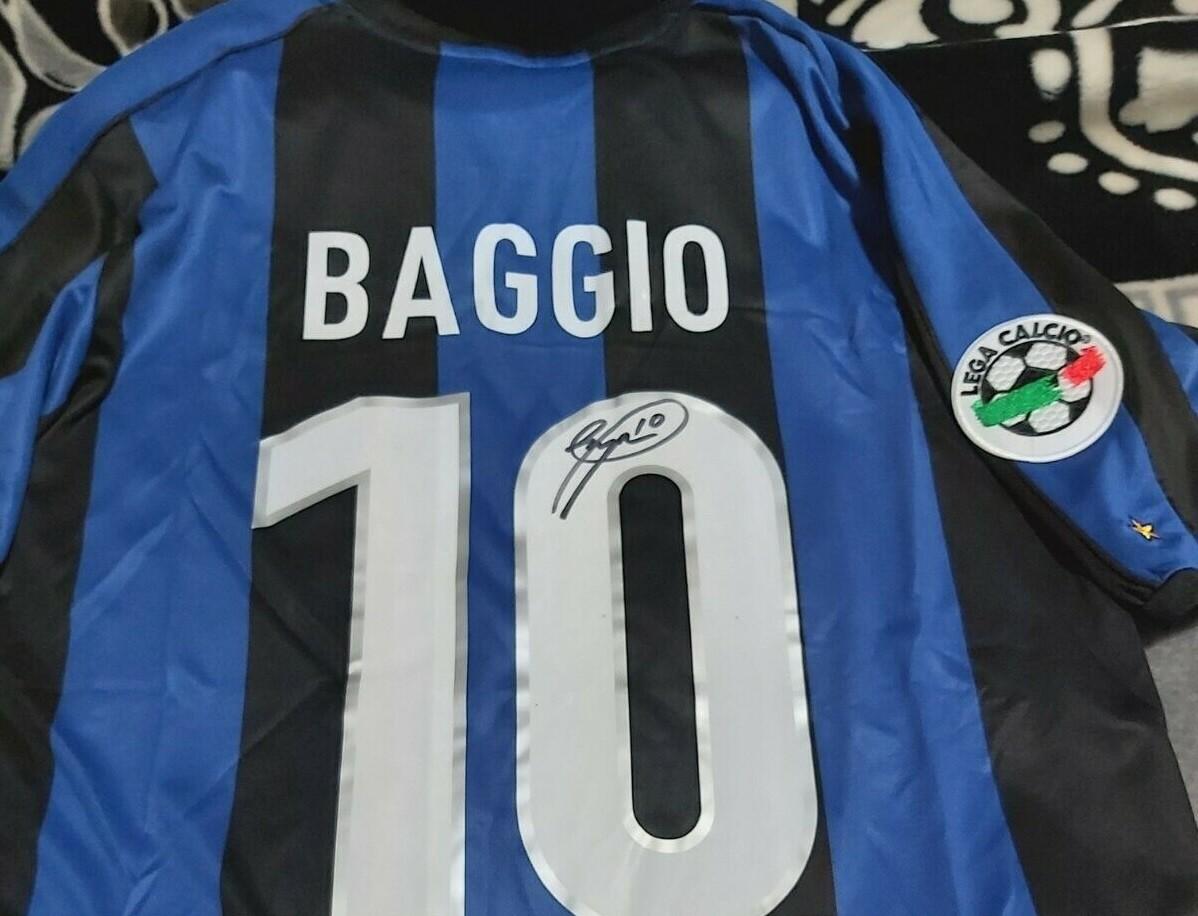 INTER ROBERTO BAGGIO MAGLIA INTER AUTOGRAFATA BAGGIO10 SIGNED AUTOGRAPH JERSEY INTER BAGGIO 10 AUTOGRAPH HAND SIGNED AUTOGRAFO