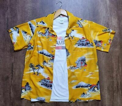 Hawaiian Shirt Brad Pitt yellow Cliff Booth In Once Up on a Time in Hollywood T SHIRT BOOTH IN ONCE UP ON TIME Hawaiian T Shirt Maglietta Hawaiiana