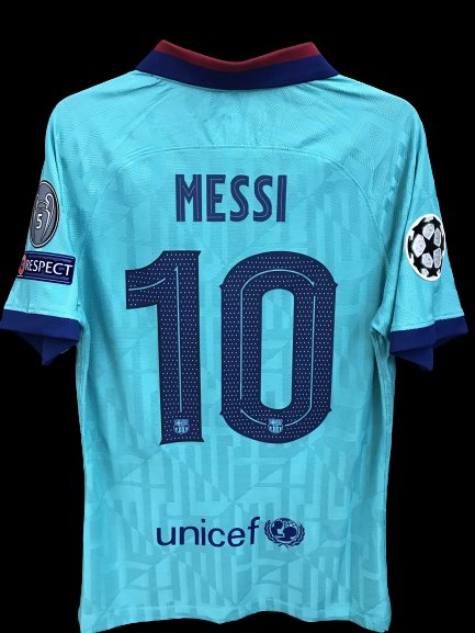 BARCELONA  MODEL LIKE  MATCH WORN PLAYER VERSION MATCH ISSUE PATCH CHAMPIONS 2019 2020 LIONEL MESSI