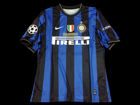 INTER FINALE MADRID 2010 FINAL MADRID 2010  MODEL LIKE  MATCH WORN PLAYER VERSION MATCH ISSUE PATCH CHAMPIONS JAVIER ZANETTI 4 INTER MADRID 2010