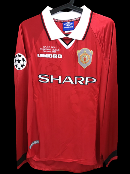 MANCHESTER UNITED  MODEL LIKE  MATCH WORN PLAYER VERSION MATCH ISSUE PATCH CHAMPIONS 1999 LEAGUE CHAMPIONS
