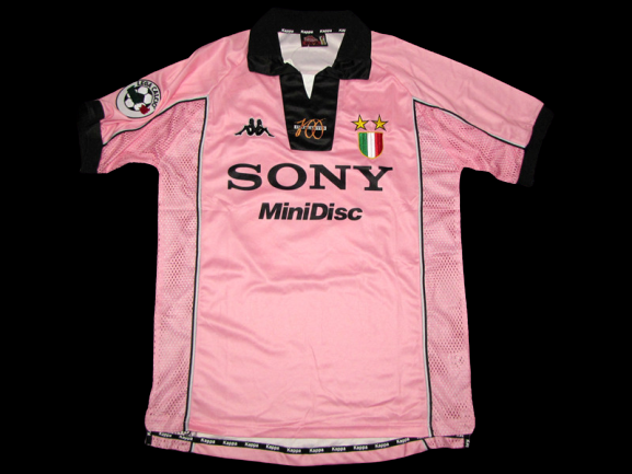 JUVENTUS CENTENARIO CENTENARY 1997 1998 PINK  MODEL LIKE  MATCH WORN PLAYER VERSION MATCH ISSUE PATCH SERIE A 1997 1998 PATCH SERIE A / CHAMPIONS