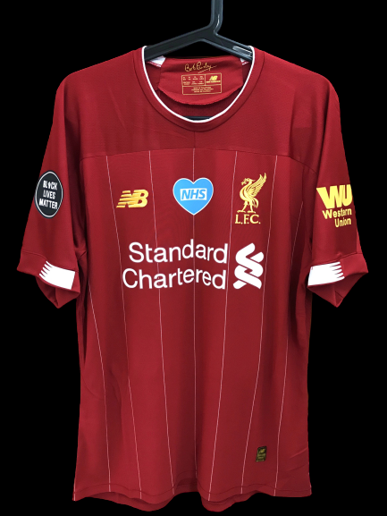 LIVERPOOL MODEL LIKE  MATCH WORN PLAYER VERSION MATCH ISSUE Liverpool 2019 2020  black lives matter MAGLIA CASA JERSEY HOME