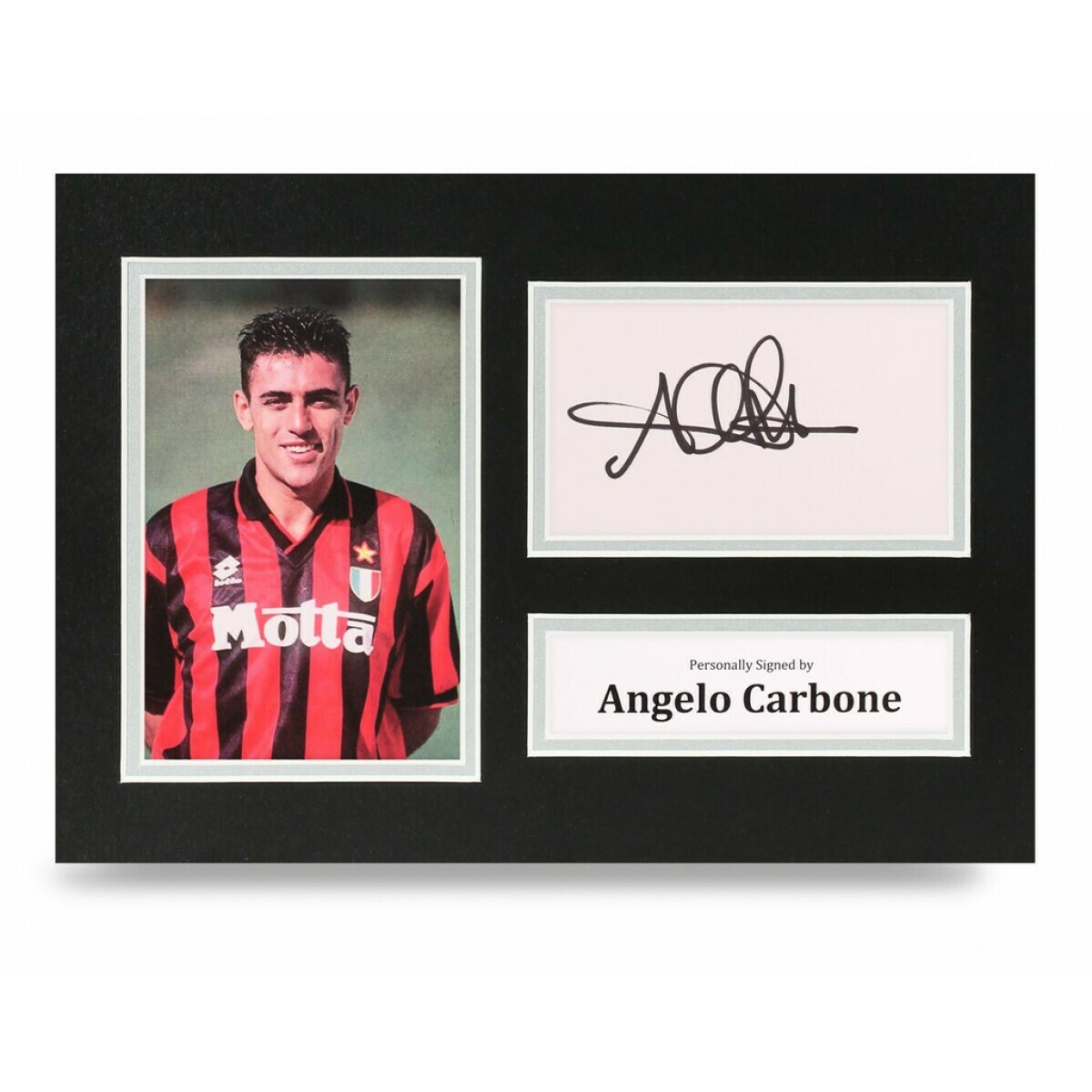 ANGELO CARBONE  DISPLAY  AUTOGRAFATA SIGNED AUTOGRAPH SIGNED CARBONE SIGNED MILAN Formato A4