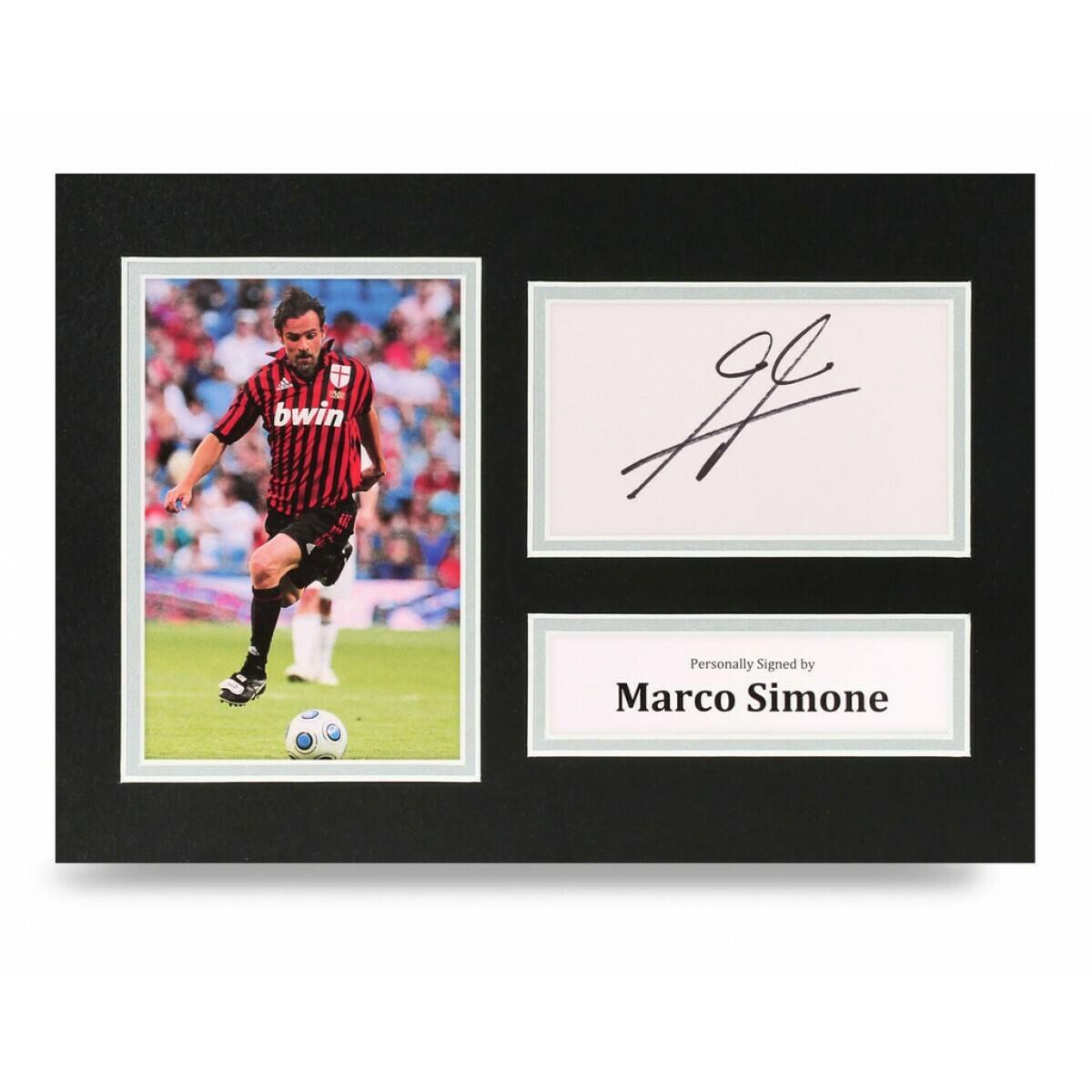 MARCO SIMONE  DISPLAY  AUTOGRAFATA SIGNED AUTOGRAPH SIGNED SIMONE  SIGNED MILAN Formato A4