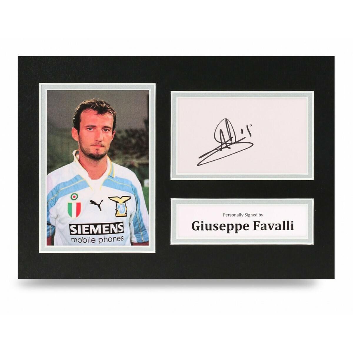GIUSEPPE FAVALLI  DISPLAY  AUTOGRAFATA SIGNED AUTOGRAPH SIGNED GIUSEPPE FAVALLI PHOTO SIGNED LAZIO Formato A4