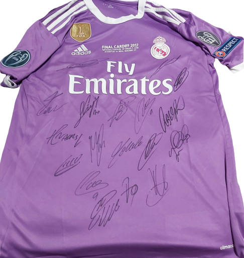 Maglia REAL MADRID Maglia Casa Team Squadra Autografata REAL MADRID FINAL CHAMPIONS CARDIFF  Signed with COA certificate REAL MADRID  TEAM SQUADRA AUTOGRAFATA Signed REAL