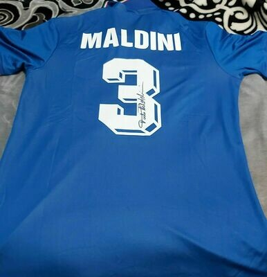PAOLO MALDINI  ITALIA ITALY JERSEY MAGLIA PAOLO MALDINI AUTOGRAFATA AUTOGRAFO SIGNED JERSEY PAOLO MALDINI  JERSEY AUTOGRAPH MALDINI PAOLO MALDINI ITALIA ITALY AUTOGRAPH