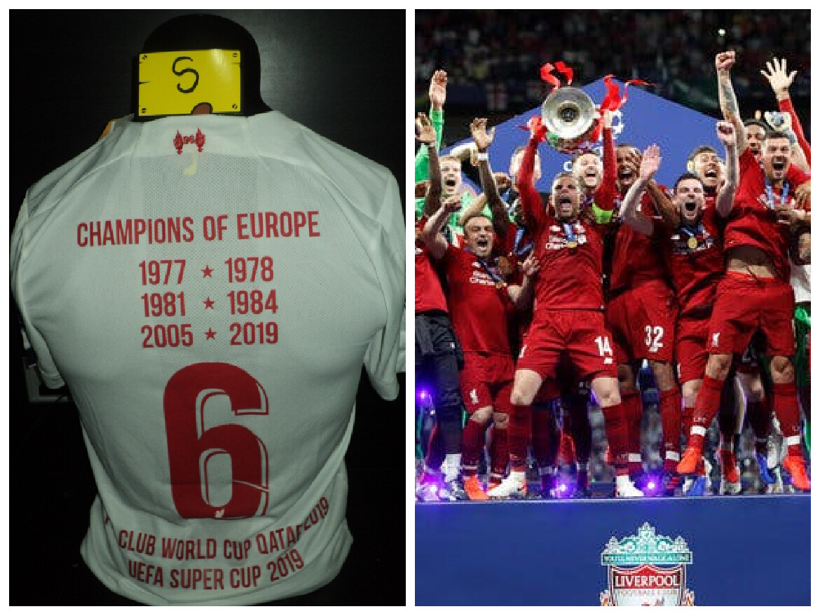 NR 7 LIVERPOOL 2019 2020 CHAMPIONS OF EUROPE SIZE S TAGLIA S