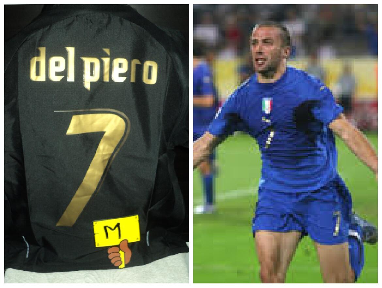 NR 75    ITALIA ITALY 2006 DEL PIERO 7 TAGLIA M SIZE M