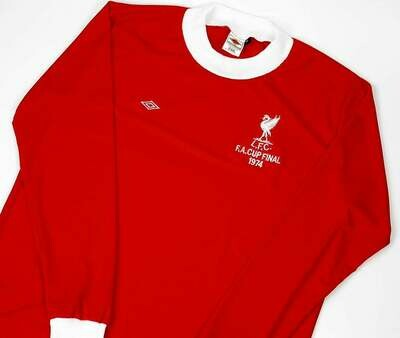 LIVERPOOL FINAL FA CUP 1974 LONG SLEEVED MAGLIA MANICHE LUNGHE FINALE 74