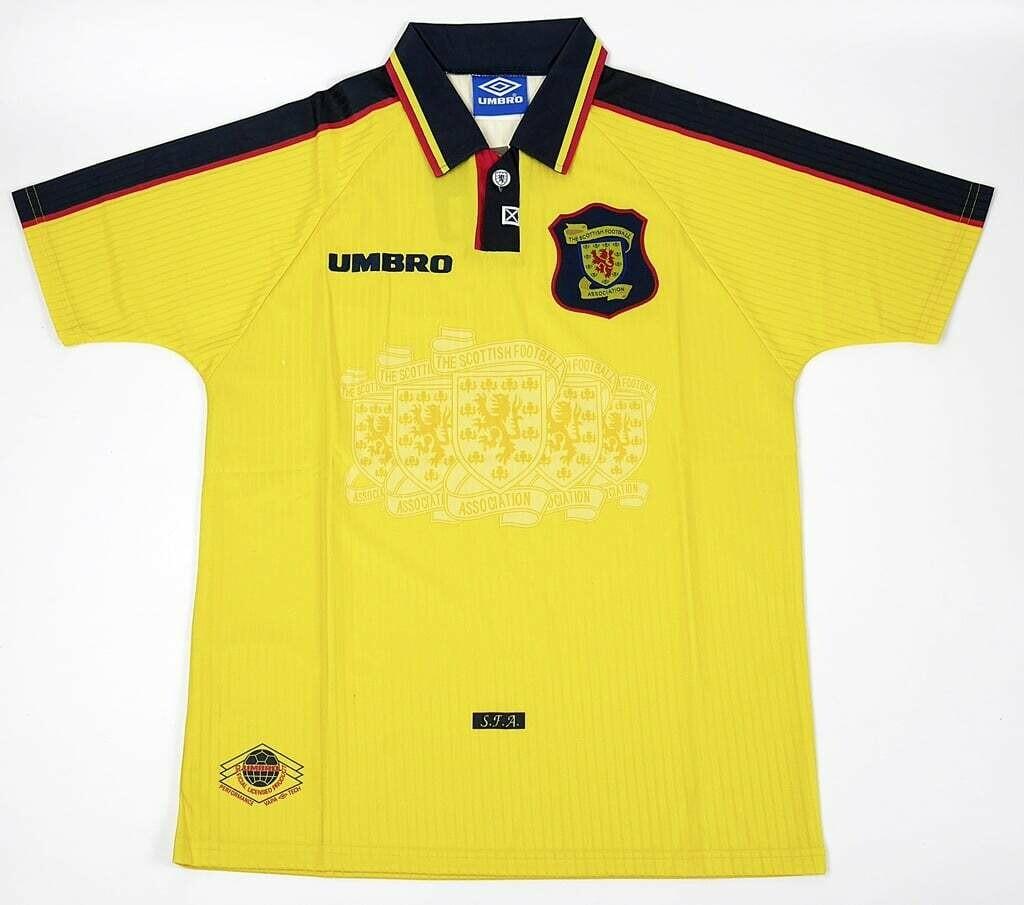SCOTLAND AWAY YELLOW WORLD CUP 1998 MAGLIA TRASFERTA JERSEY WORLD CUP 98 MONDIALI 98