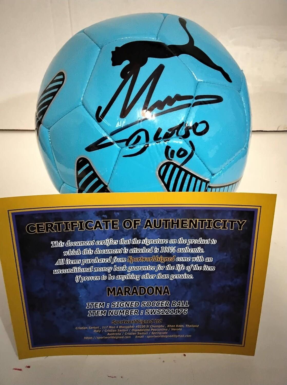 Pallone Autografato Diego Armando Maradona  Signed Diego Armando Maradona Pibe D Oro with COA certificate BALL HAND SIGNED MARADONA PRONTA CONSEGNA ITALIA READY TO SHIP FROM ITALY