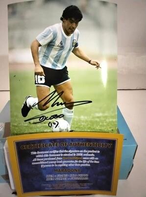 FOTO DIEGO ARMANDO MARADONA Autografata Signed + COA Photo Pibe D oro Mararadona Autografato Signed PRONTA CONSEGNA - READY TO SHIP
