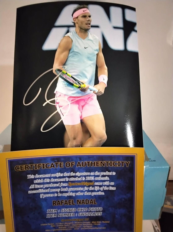 FOTO Rafael Nadal  Autografata Signed + COA Photo PHOTOGRAPH RAFA NADAL SIGNED HAND SIGNED  Rafael Nadal  Autografato Signed NADAL