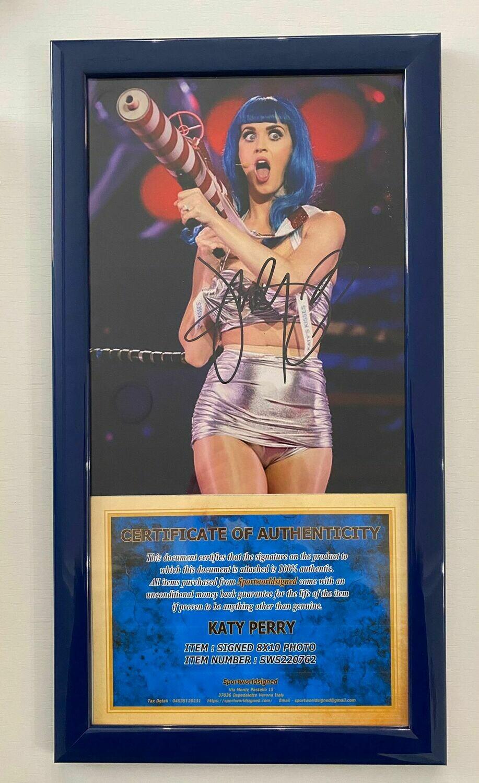 FOTO + Cornice Katy Perry Autografata Signed + COA Photo + Frame Katy Perry Autografata Signed