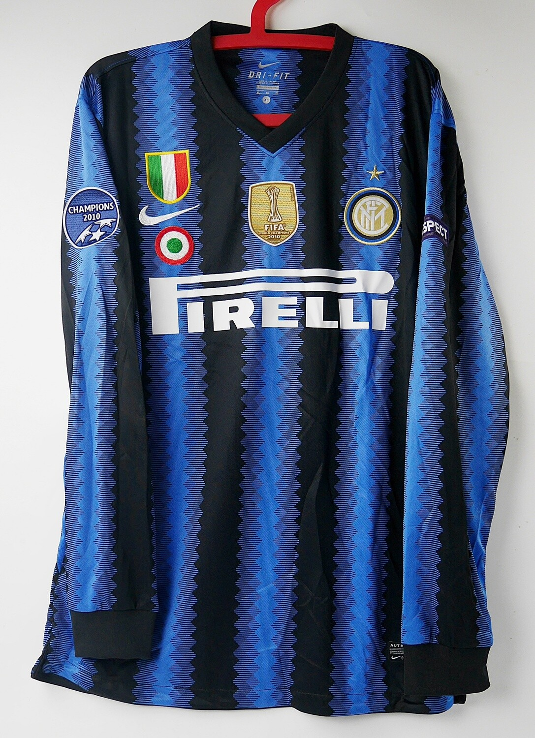 INTER MAGLIA CASA JERSEY HOME 2010 2011 MANICHE LUNGHE LONG SLEEVES