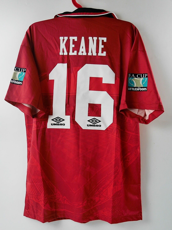 16 ROY KEANE MAN UTD HOME FINAL FA CUP 1996 WINNERS MAGLIA CASA JERSEY HOME FINAL FA CUP 96 ROY KEANE