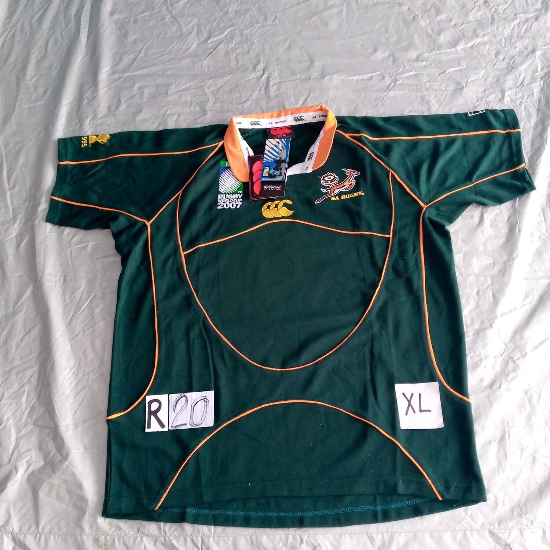 R20 Sudafrica 2007 Rugby Maglia Jersey Shirt Rugby SUDAFRICA TAGLIA L SIZE L