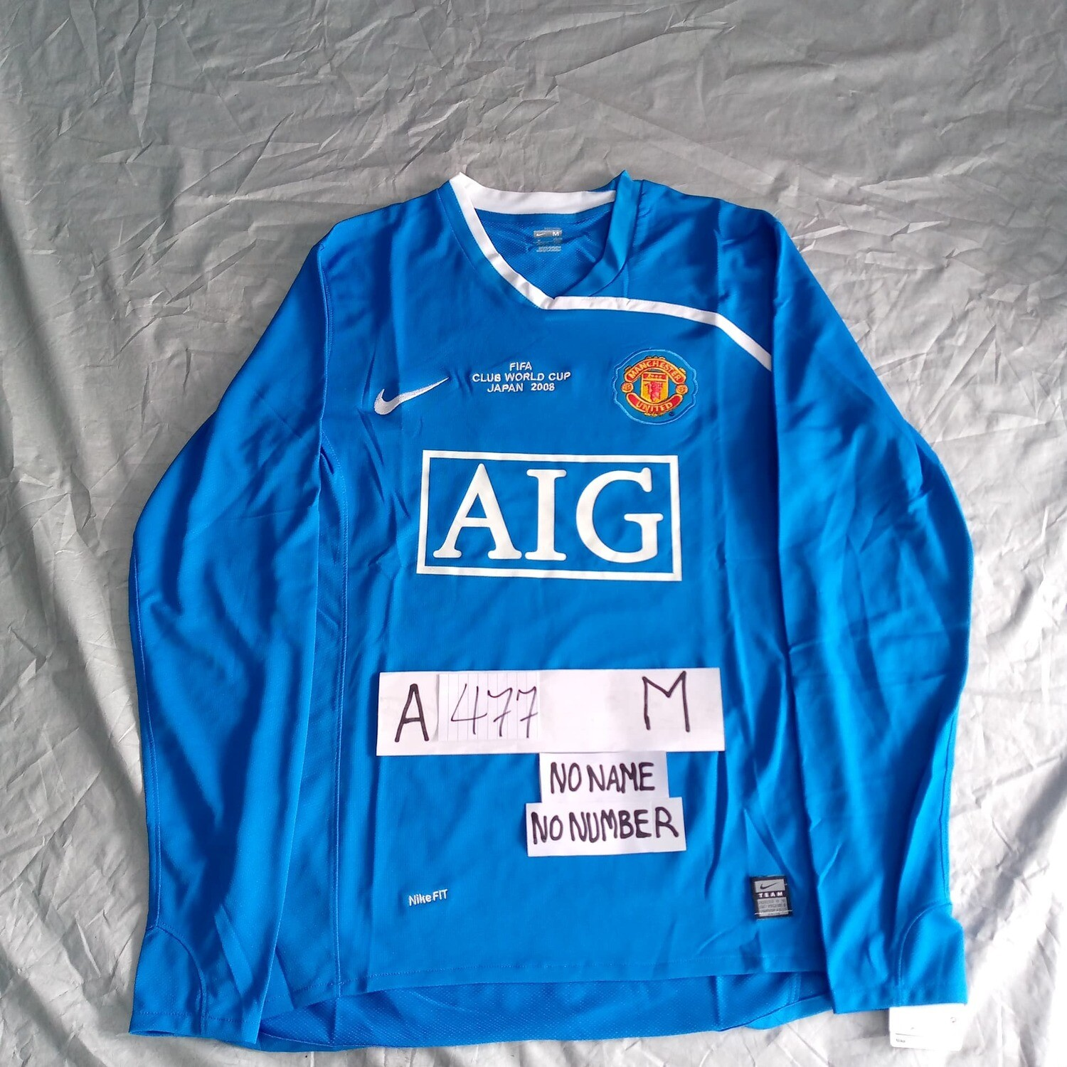 A477 MANCHESTER UNITED FINAL WORLD CUP 2008  LONG SLEEVES SIZE M TAGLIA M