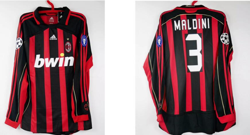 AC MILAN MAGLIA CASA JERSEY HOME UCL CHAMPIONS 2006 LONG SLEEVED MALDINI 3 XL