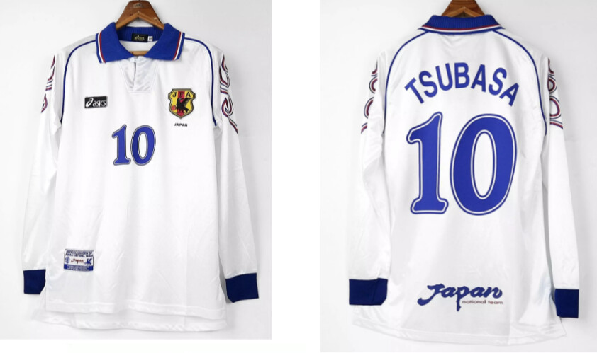 JAPAN AWAY WHITE WC 1998 LONG SLEEVED MANICHE LUNGHE GIAPPONE MONDIALI 1998 TSUBASA 10