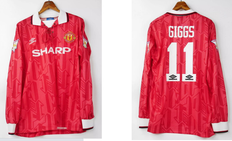 MAN UTD HOME 1992-1994 MANICHE LUNGHE 92 94  LONG SLEEVED GIGGS 11