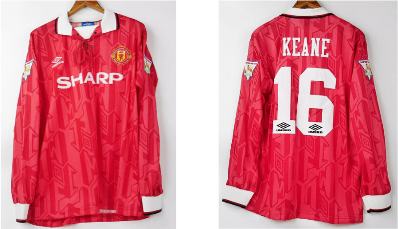 MAN UTD HOME 1992-1994 MANICHE LUNGHE 92 94  LONG SLEEVED ROY KEANE 16