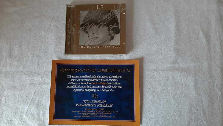 CD THE BEST 1980 1990  U2 Autografo U2 GRUPPO THE BEST 1980 1990  U2 CD Autografato CD Signed Autograph Hand Signed CD THE BEST 1980 1990