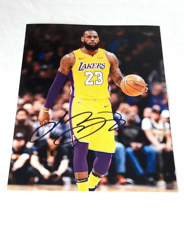 FOTO Lebron James Lakers Los Angeles Autografata Signed Lakers Lebron James Signed Autograph BALL PHOTO hAnd Signed NBA