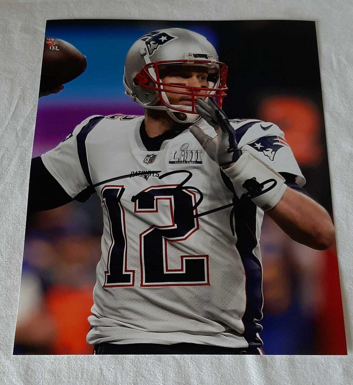 Foto Tom Brady Football American Photo Autografata Tom Brady Football Foto Signed
