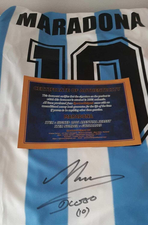 Maglia Argentina Diego Armando Maradona Jersey Maradona Signed Autograph Autografata Diego Armando Maradona Autograph Hand Signed Jersey Argentina Maradona